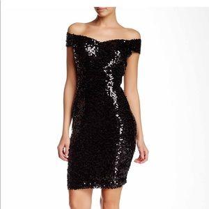 MARINA V-Front Shoulder Sequin Cocktail Dress